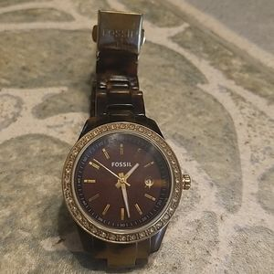 Fossil Watch with Gold Stone Rim
